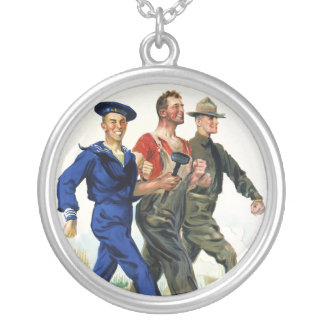 Together We Win, Vintage WWI Poster Silver Plated Necklace