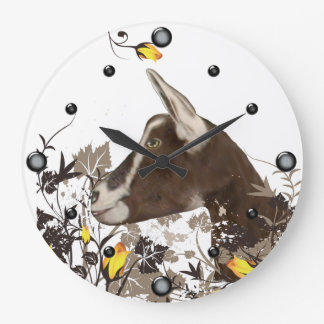 Toggenburg Dairy Goat Painting Floral Wall Clock