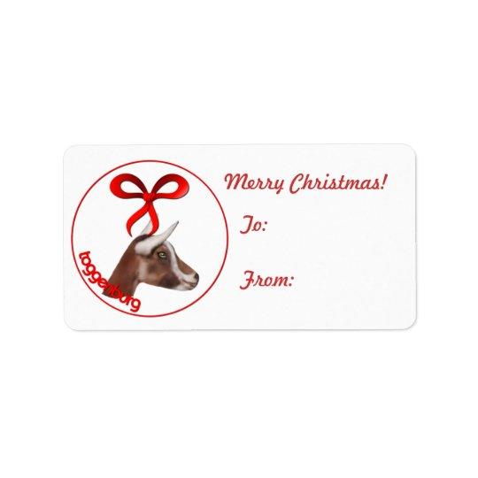 Toggenburg Goat Christmas Gift Tag Sticker