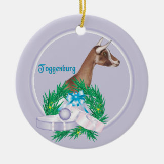 Toggenburg Goat Wreath Holiday Ornament