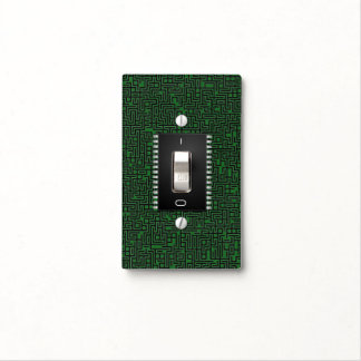Toggle Switch Computer Green Board +Add Your Info Light Switch Plate