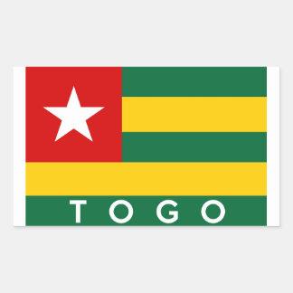 togo country flag symbol name text rectangular sticker