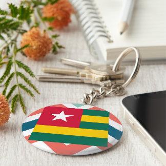 Togo Flag Box on Colorful Chevron Basic Round Button Keychain