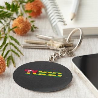 Togo flag font basic round button keychain