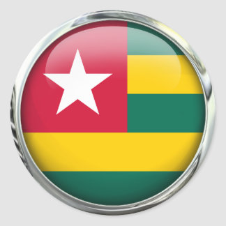 Togo Flag Glass Ball Classic Round Sticker