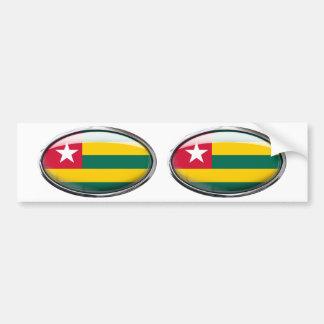 Togo Flag Glass Oval Bumper Sticker