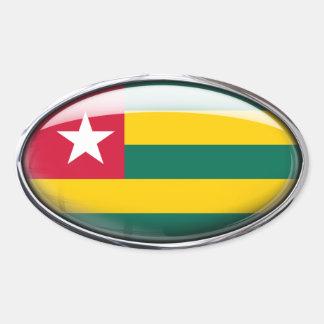 Togo Flag Glass Oval Oval Sticker