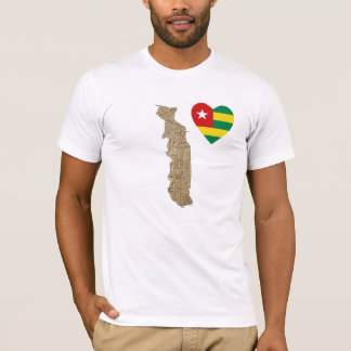 Togo Flag Heart and Map T-Shirt