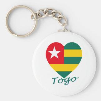 Togo Flag Heart Basic Round Button Keychain