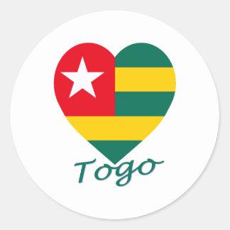 Togo Flag Heart Classic Round Sticker