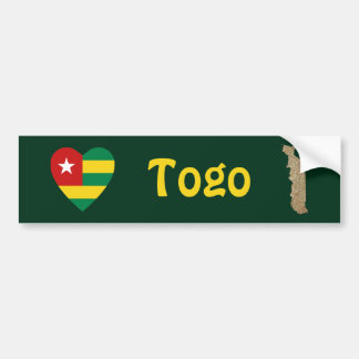 Togo Flag Heart + Map Bumper Sticker