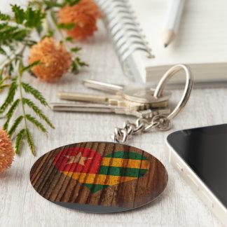 Togo Flag Heart on Wood theme Basic Round Button Keychain