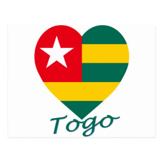 Togo Flag Heart Post Card