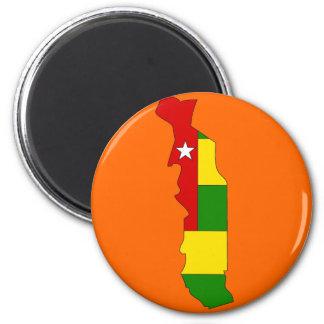 Togo flag map 2 inch round magnet