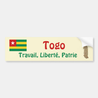 Togo Flag + Map Bumper Sticker