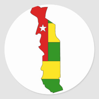 Togo flag map classic round sticker