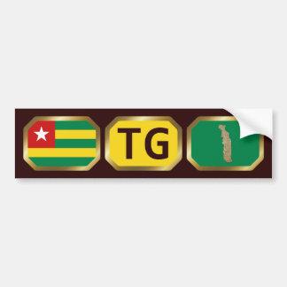 Togo Flag Map Code Bumper Sticker Car Bumper Sticker