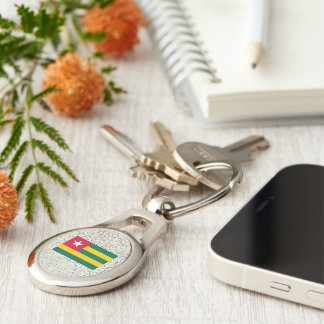 Togo Flag Silver-Colored Oval Metal Keychain