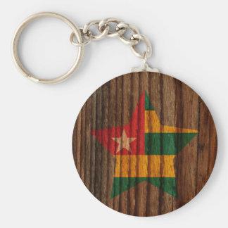 Togo Flag Star on Wood theme Basic Round Button Keychain