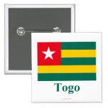 Togo Flag with Name 2 Inch Square Button