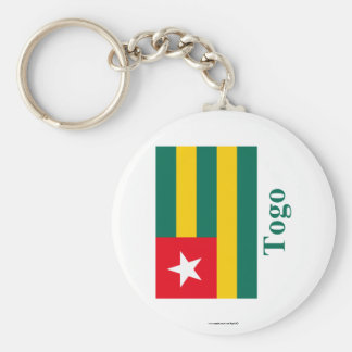Togo Flag with Name Basic Round Button Keychain