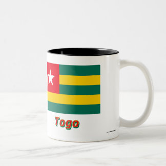 Togo Flag with Name Two-Tone Coffee Mug