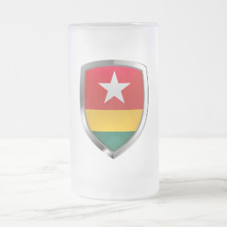 Togo Metallic Emblem Frosted Glass Beer Mug