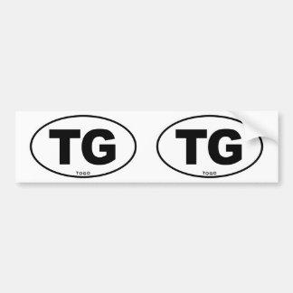 Togo TG Oval ID Identification Code Initials Bumper Sticker