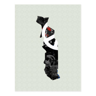 Togo Trendy Peace Sign with Togolese map Postcard