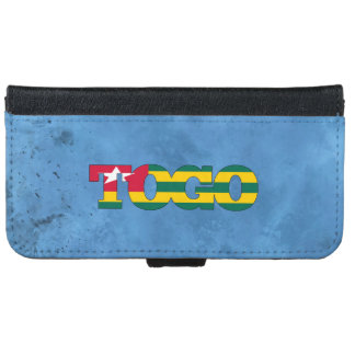 Togolese name and flag on cool wall iPhone 6 wallet case