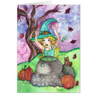 Toil and trouble Halloween Witch Greeting Card