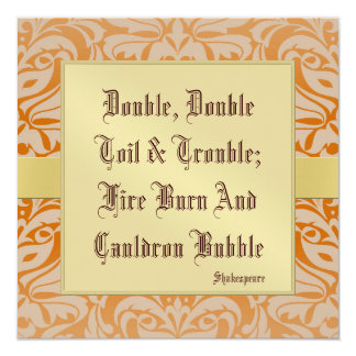 Toil & Trouble Halloween Holiday Gold Invitation