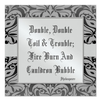Toil & Trouble Halloween Holiday Silver Invitation