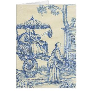 Toile azul chino tarjeta de felicitación