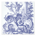 Toile barroco francés azul elegante invitación 13,3 cm x 13,3cm