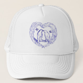 Toile Birds Kissing With Heart Wreath Hat