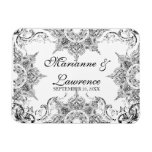 Toile Black n White Damask Swirl Save the Date Rectangular Magnet