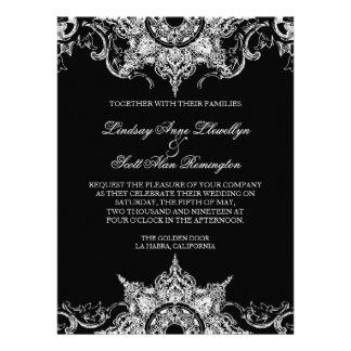 Toile Black n White Damask Swirl Wedding Invite
