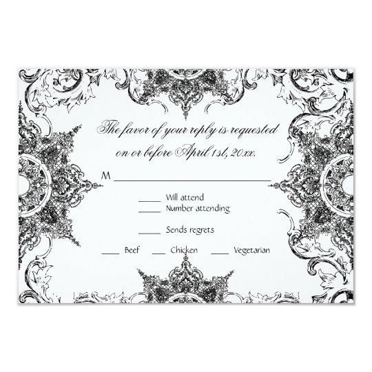 Toile Black n White Damask Swirl Wedding RSVP Card