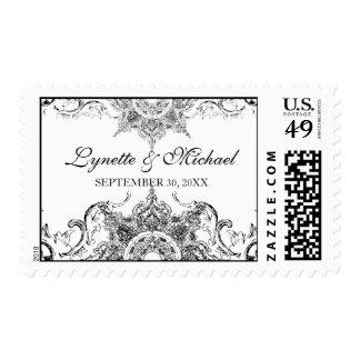 Toile Black n White Damask Swirl Wedding Stamps