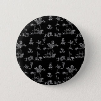 Toile Black Unicorn Pinback Button
