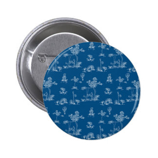 Toile Blue Unicorn Pinback Buttons