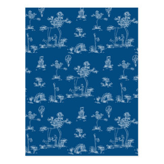 Toile Blue Unicorn Postcard
