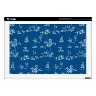 "Toile Blue Unicorn Skins For 17"" Laptops"