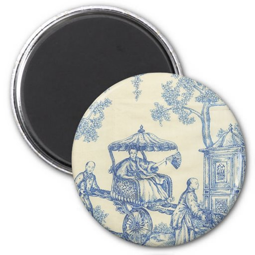 Toile - Blue & White 2 Inch Round Magnet