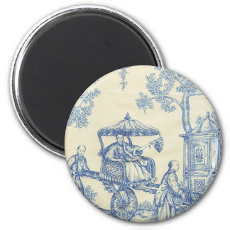 Toile - Blue & White Refrigerator Magnets