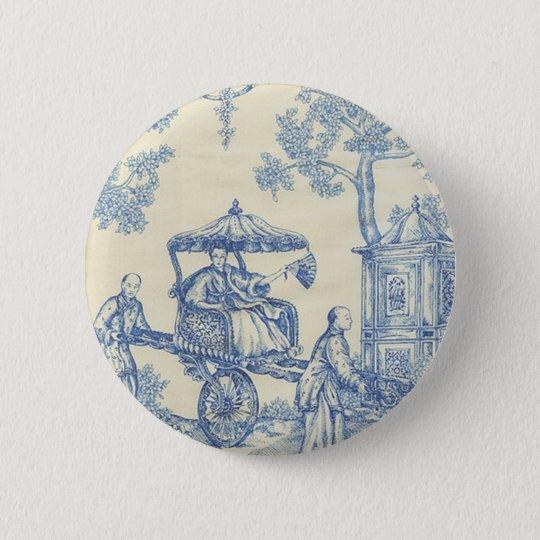 Toile - Blue & White Pinback Button