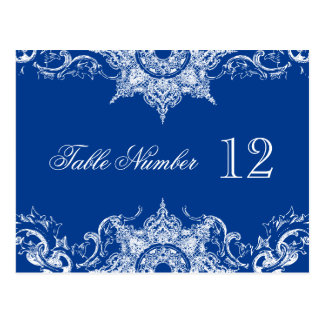 Toile Damask Reception Table Numbers Royal Blue Postcard