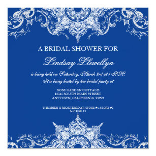 Royal Blue Bridal Shower Invitations