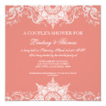"Toile Damask Swirl Couples Shower Coral Pink 5.25"" Square Invitation Card"